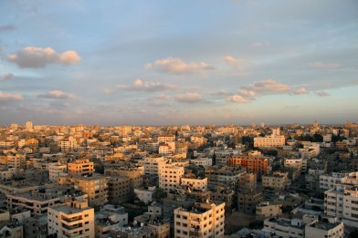 Gaza from a window at sunset