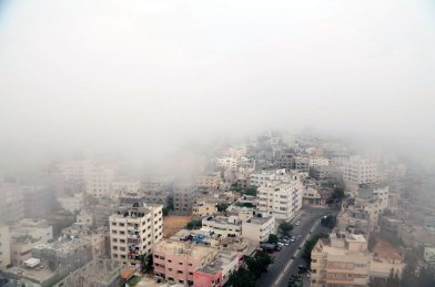 Gaza City in fog
