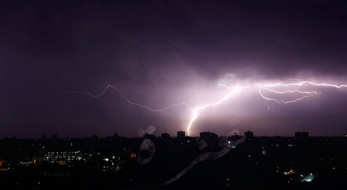 Lightening in the sky over Gaza