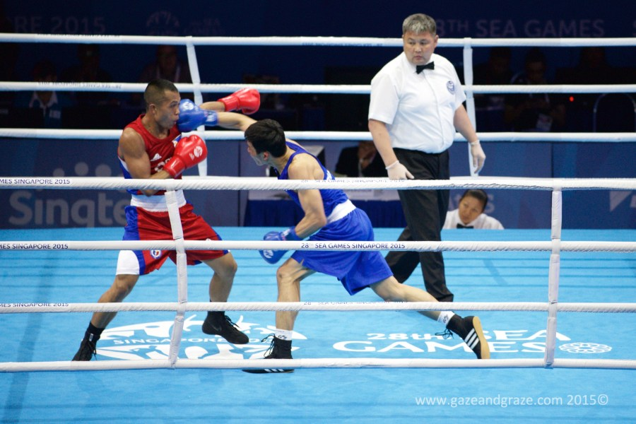 More From the SEA Games     Boxing and Sepak Takraw   Gazing and Grazing I went to watch the SEA Games boxing semifinals here in Singapore and got  an added bonus from catching the closing games of a Sepak Takraw match  between
