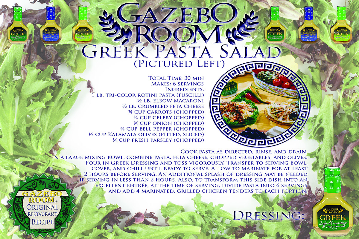 Greek Pasta Gazebo Room Salad Dressings