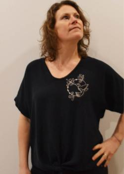 TUNIQUE MARINE BRODEE -Le colibri argent