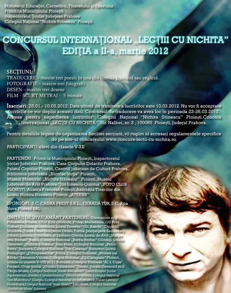 "Concurs Internaţional ""Lecţii cu Nichita"""