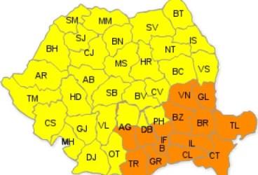 Prahova rămâne sub cod portocaliu până miercuri dimineaţă