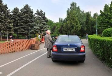 Poliţia Locală s-a sesizat în cazul şoferiţei care a intrat cu maşina în parc. Ce riscă aceasta