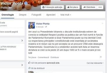 Iohannis îi cere demisia, Ponta îi răspunde pe Facebook