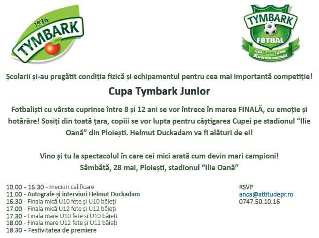 """Finala Cupei Tymbark Junior la Fotbal, la Ploieşti, pe stadionul """"Ilie Oană"""""""