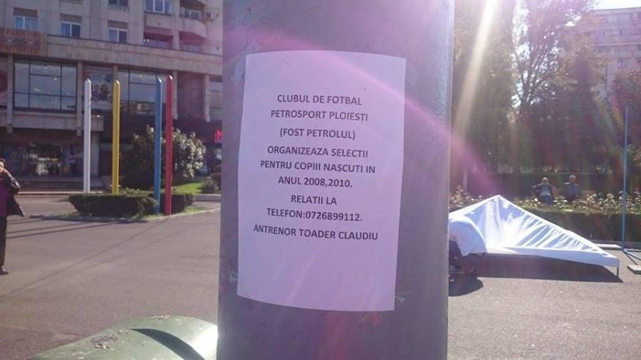 """Petrosport este fostul Petrolul?!? Un anunț din centrul Ploieștiului creează confuzie în rândul simpatizanților """"găzarilor"""""""