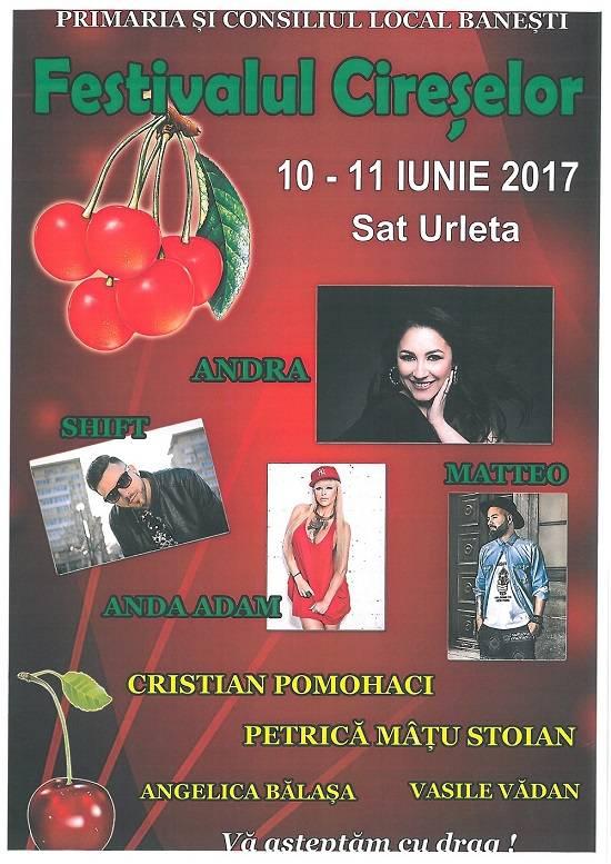 Andra cântă la Festivalul Cireşelor Băneşti, 2017. Vezi lista artiştilor