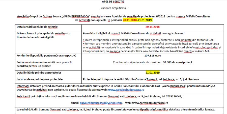 Apel de selecṭie de proiecte nr. 6/2018  pentru masura M5\6A Dezvoltarea de activitaṭi non-agricole  in perioada 20.11.2018-21.01.2019
