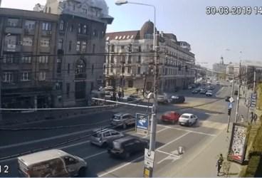 Filmul accidentului din centrul Ploieștiului