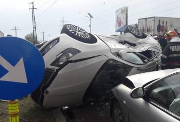Accident pe centura Ploieştiului cu maşini răsturnate şi… înger păzitor!