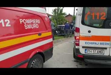 Potigrafu: Accident cu auto răsturnat şi elicopter SMURD