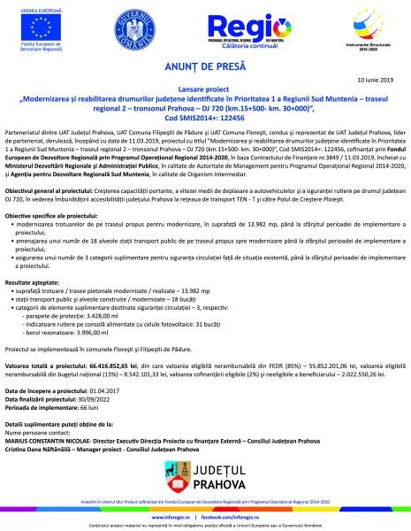 """Lansare proiect """"Modernizarea și reabilitarea drumurilor județene identificate în Prioritatea 1 a Regiunii Sud Muntenia – traseul regional 2 – tronsonul Prahova – DJ 720 (km.15+500- km. 30+000)"""""""