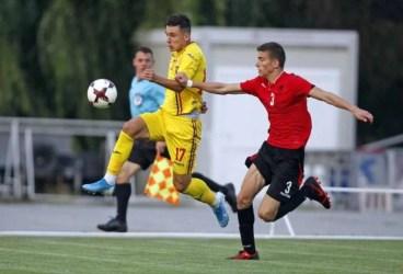 """Internaționalul """"U 18"""" Ianis Stoica a marcat în al doilea meci cu Albania. Petrolistul a deschis scorul pe arena FRF de la Buftea"""