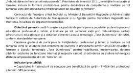 """Reabilitarea, modernizarea, extinderea și dotarea Liceului tehnologic """"Tase Dumitrescu"""" Mizil"""