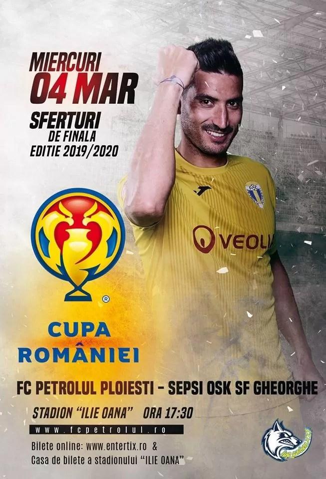 """Petrolul, la un pas de performanța din 2013 și 2014. Din fostă gazdă pe """"Ilie Oană"""", Sepsi va fi miercuri oaspete a """"lupilor"""", la Ploiești, în sferturile de finală ale Cupei României"""