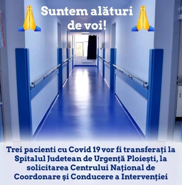 Primii pacienţi cu Covid19 la Spitalul Judeţean Ploieşti, transferaţi de la Braşov