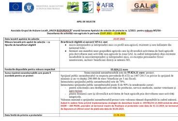 """Asociația Grupul de Acțiune Locală """"VALEA BUDUREASCĂ"""" anunță lansarea Apelului de selecție de proiecte nr. 1/2021  pentru măsura M5/6A – Dezvoltarea de activități non-agricole în perioada 23.07.2021 – 22.08.2021"""