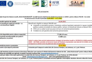 """Asociația Grupul de Acțiune Locală """"VALEA BUDUREASCĂ"""" anunță lansarea Apelului de selecție de proiecte nr. 2/2021  pentru măsura M6/6B – Investiții în infrastructura locală în perioada 24.09.2021 – 15.11.2021"""