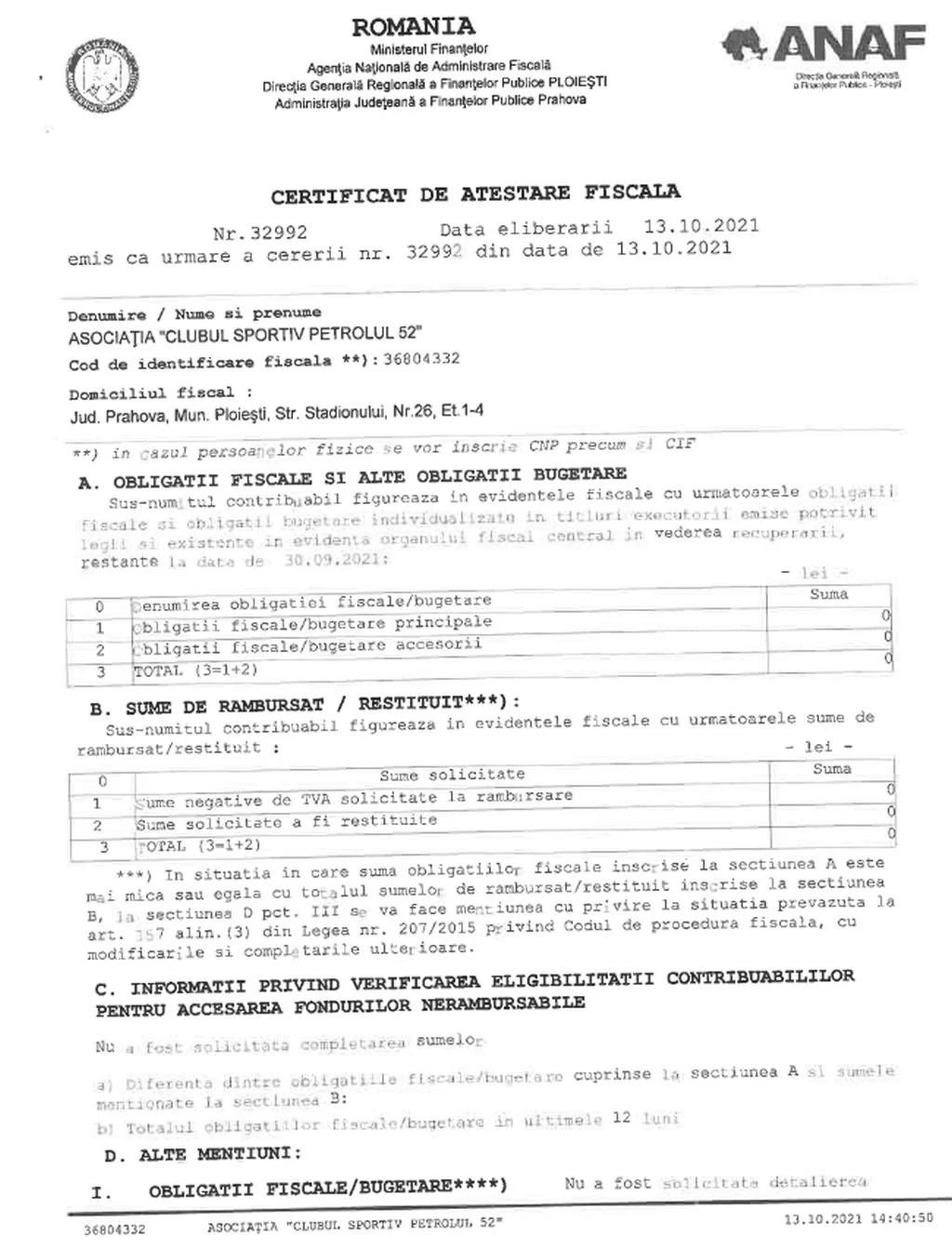 Fără a fi fost obligat, clubul cu patronat privat ACS Petrolul '52 Ploiești a făcut public certificatul fiscal cu valoare zero! Se așteaptă replica acelora care au tot pus la îndoială absența datoriilor găzarilor, dar și o mare criză în buget!