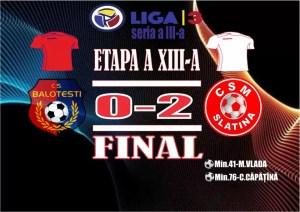 Fotbal: CSM Slatina, victorie în deplasare