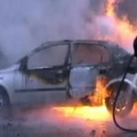 Olt: Autoturism, în flăcări