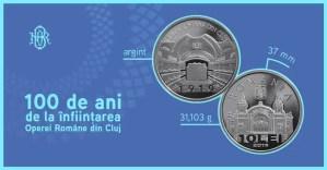"""BNR va lansa o monedă din argint cu tema """"100 de ani de la înfiinţarea Operei Române din Cluj"""""""