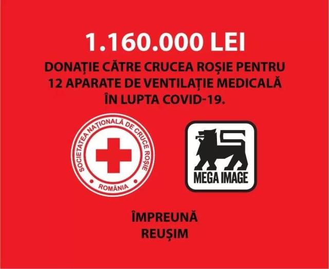 MEGA-IMAGE-2020 MEGA IMAGE SUSTINE CRUCEA ROSIE ROMANA IN LUPTA IMPOTRIVA PANDEMIEI COVID-19