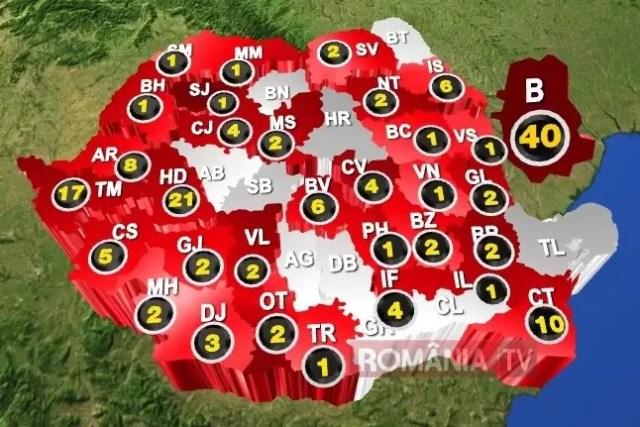 harta-covid 184 de cazuri de COVID în România, 12 vindencați
