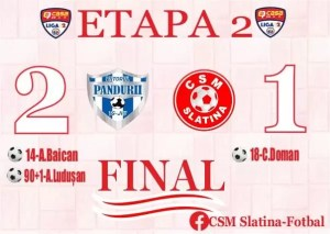 Viitorul Pandurii Târgu Jiu a învins CSM Slatina, scor 2-1