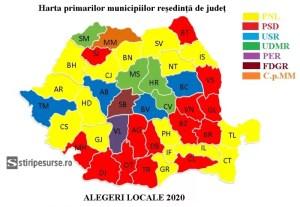 HARTA primarilor municipiilor reşedinţă de judeţ