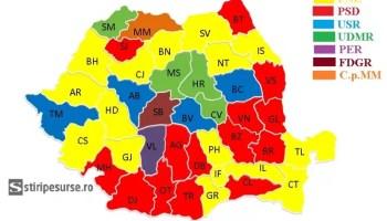harta-municipoiii S-a făcut marea împărțeală a prefecților: lista județelor adjudecate de PNL, USR-PLUS și UDMR