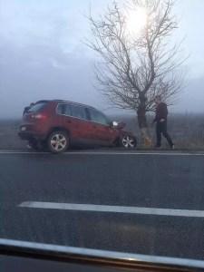 Din neatenție a ajuns cu mașina într-un copac, pe raza comunei Găneasa