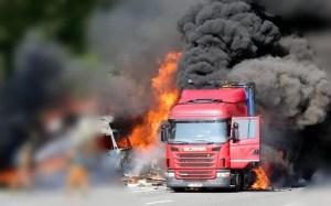 Germania. Camionul unui român a ARS ca o torță pe o Autostrada A64