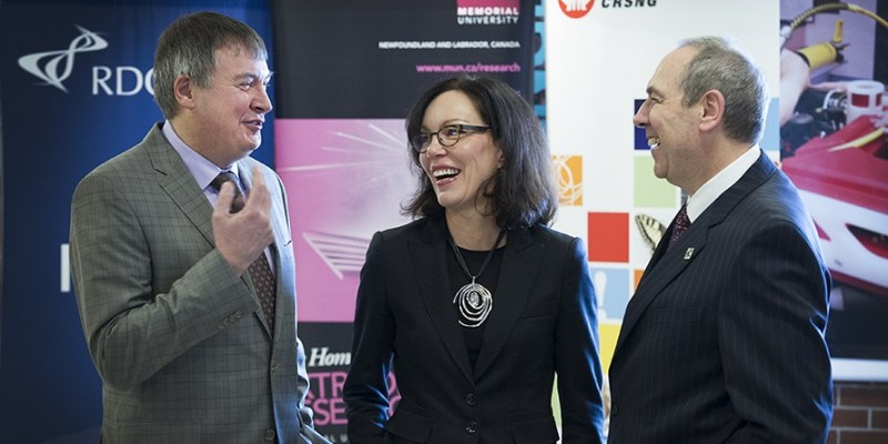 From left: Mark Ploughman, acting chief executive officer, RDC; Dr. Bettina Hamelin, vice-president of research partnerships, NSERC; and Dr. Richard Marceau, vice-president (research), Memorial.