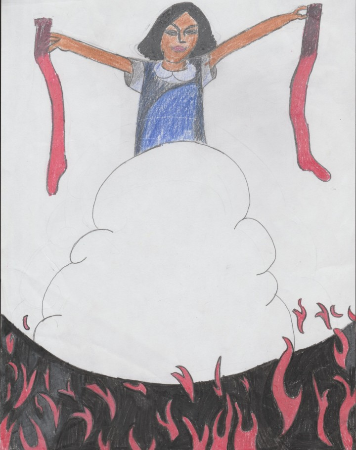 This image was drawn by a Grade Bishop Abraham elementary student after hearing the story of Olemaun's experience with scratchy socks at a residential school.