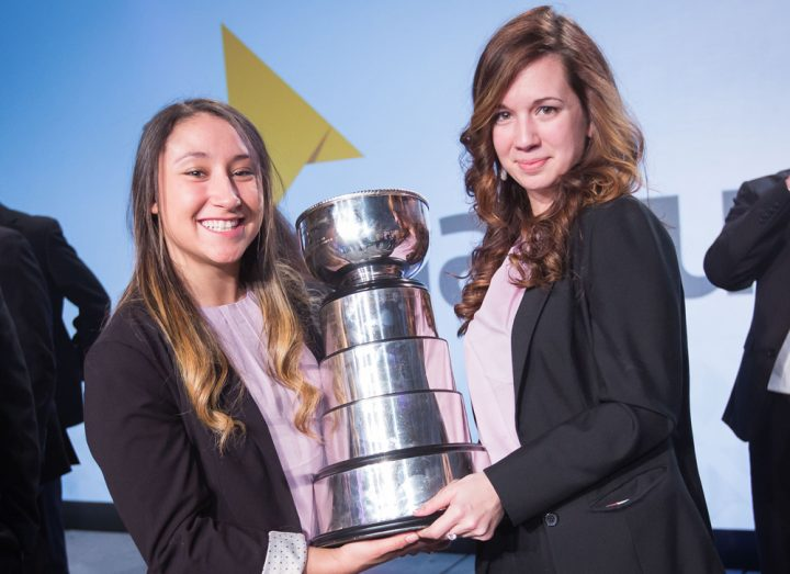 Angelise States, left, and Emily Bland won individual awards for leadership at Enactus nationals recently.
