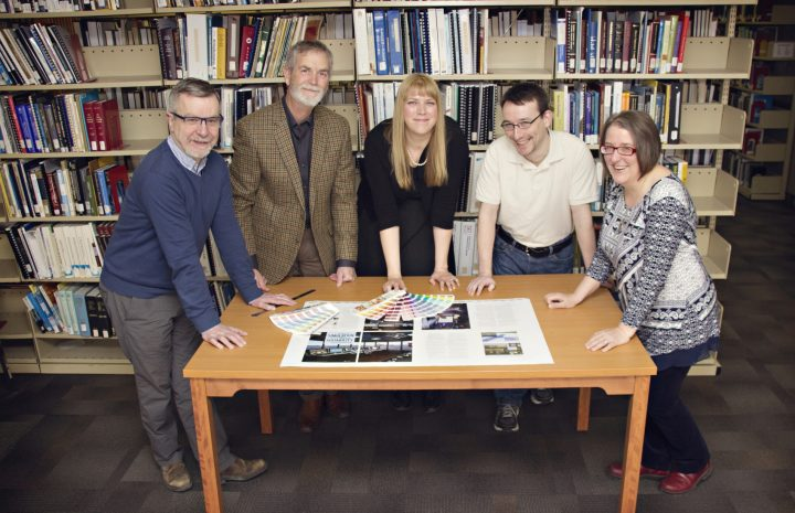 From left, the JOT team are Dr. David Molyneux, Randy Gillespie, Danielle Percy, Scott Bruce and Dawn Roche (editor). Missing from photo: Crystal-Lynn Gorman (administration) and Karla Strong (finance)