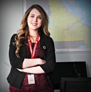 Sienna Wagg, a Memorial alumna, at the Canadian Red Cross offices in St. John's