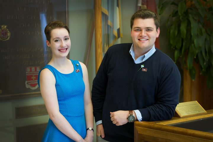 From left, Katie Cranford and Seamus Hogan in the Arts building on the St. John's campus.