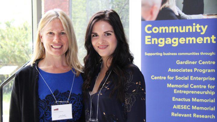 Lynn Zurel, left, representing the Zurel Family Bursary poses with Neala Kielley, a scholarship recipient.