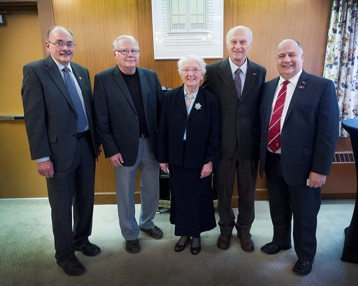 From left are Dr. Grant Gardner, Prof. Henry Mann, Dr. Kay Matthews, Dr. Allan Stein and President Kachanoski during the 2015 Tribute Awards ceremony.