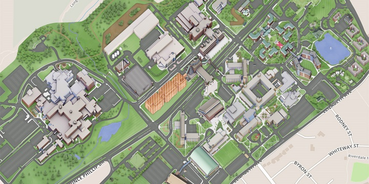 A closeup of the interactive campus map.