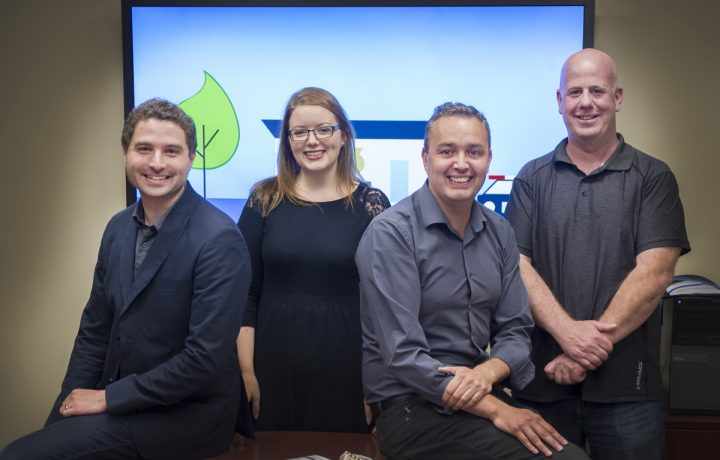 The research team includes from left Kirk Luther, Meagan McCardle, Dr. Brent Snook and John House.