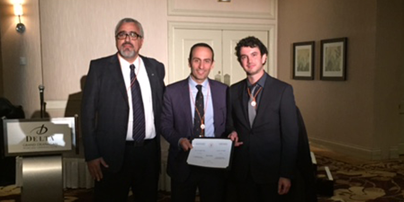 From left are Dr. Kamran Behdinan, past president of CSME and chair of CSME Honors and Awards Committee; Dr. Ali Dolotabadi, current president of CSME; and Dr. Pope at CSME's 2016 International Congress in Kelowna, B.C.