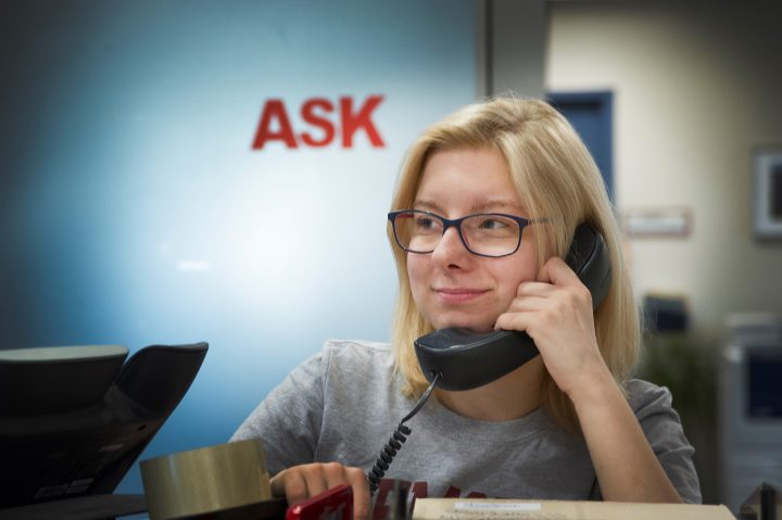 Becky Gardner, student liaison at ASK, helps students in person, via email and over the phone.