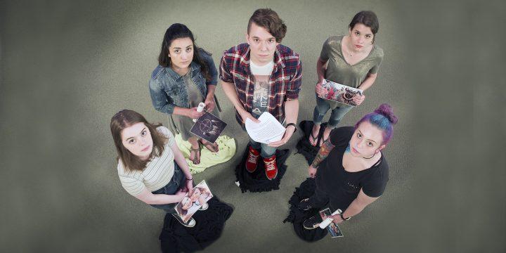 L-R: bachelor of social work students Johanna Adams, Caitlin Dillon, Brent Baker and Alyssa Maher
