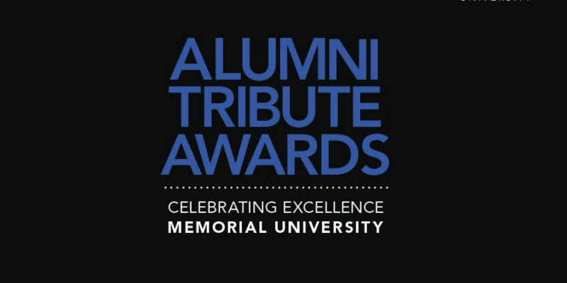 """A black rectangle with the words """"Alumni Tribute Awards: Celebrating excellence Memorial University"""" in purple and white text."""