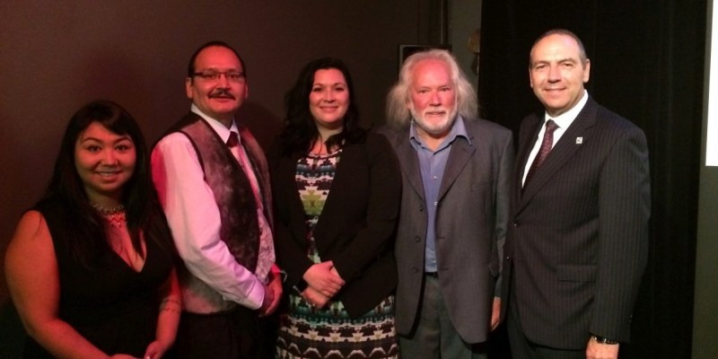 From left: Susan Onalik, St. John's Native Friendship Centre; Sean Lyall, minister of Culture, Recreation and Tourism, Nunatsiavut Government; Dr. Heather Igloliorte, artistic director of iNuit Blanche and curator of SakKijâjuk; Dr. Tom Gordon; and Dr. Richard Marceau.